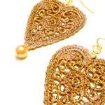 Heart Lace Earrings Hand Dy..