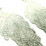 Leaf Lace Earrings Hand Dye..