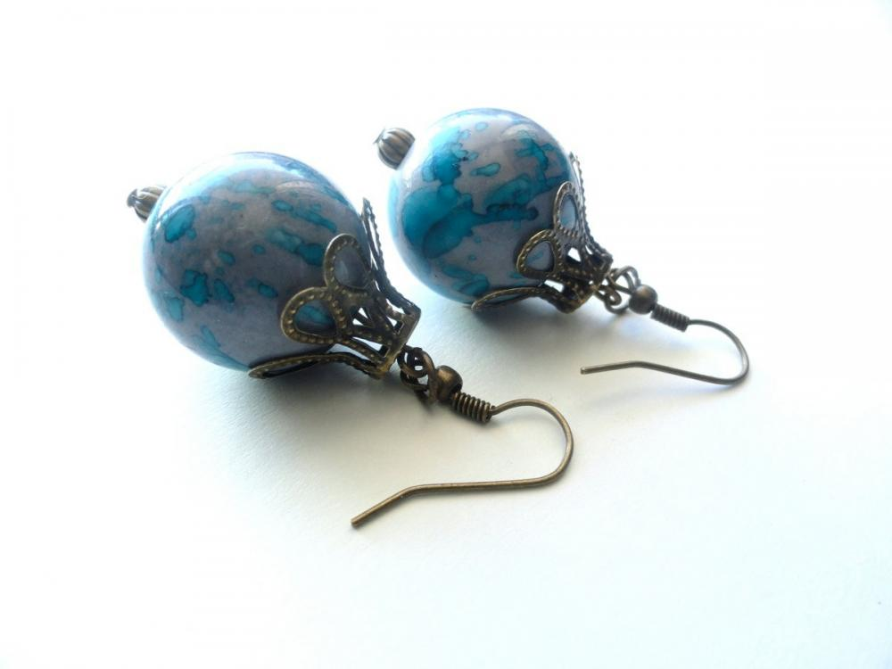 Purple and Blue Stone Beaded Earrings with Antiqued Bronze Beads