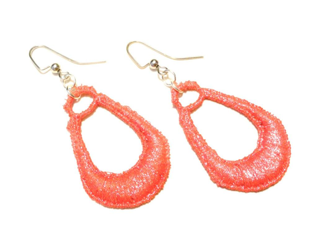 Lace Earrings Hand Dyed - Red Metallic - Customizable Colors - Lace Fashion