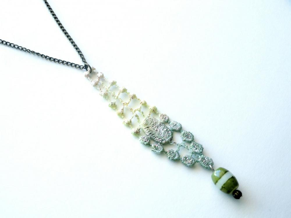Lace Necklace Hand Dyed - Yellow and Olive Green - Customizable Colors - Lace Fashion
