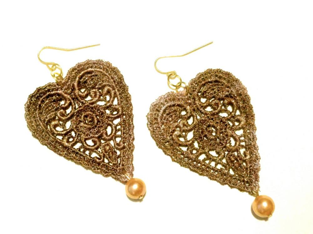 Heart Lace Earrings Hand Dyed - Brown Metallic - Customizable Colors - Lace Fashion