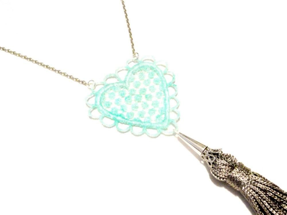Lace Necklace Hand Dyed - Heart in Aqua Mint Sparkle with Grey Tassel - Customizable Colors - Summer Ocean