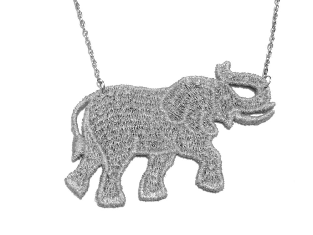 Grey Elephant Lace Necklace Hand Dyed - Customizable Colors