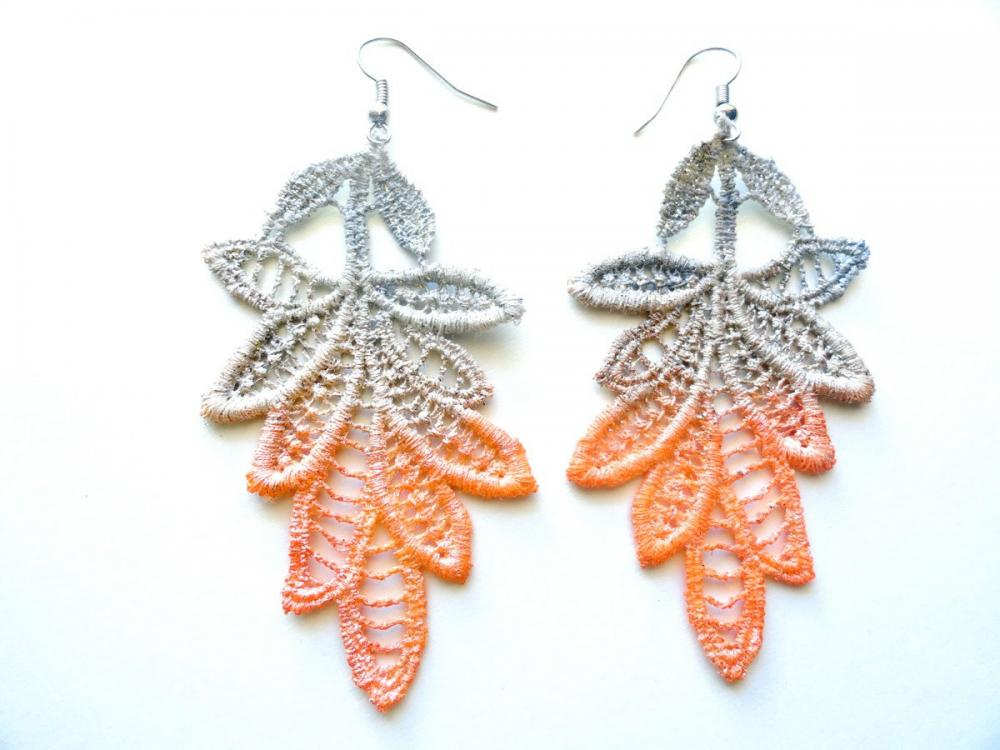Lace Earrings Hand Dyed - Pearl Orange and Gray Leaves - Customizable Colors