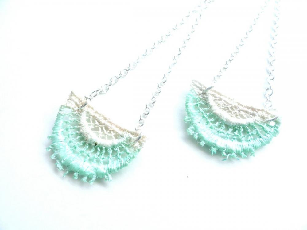 Lace Fashion Hand Dyed Lace Earrings - Mint Green and Champagne with Sterling Silver Chain - Customizable Colors )-( JANET )-(