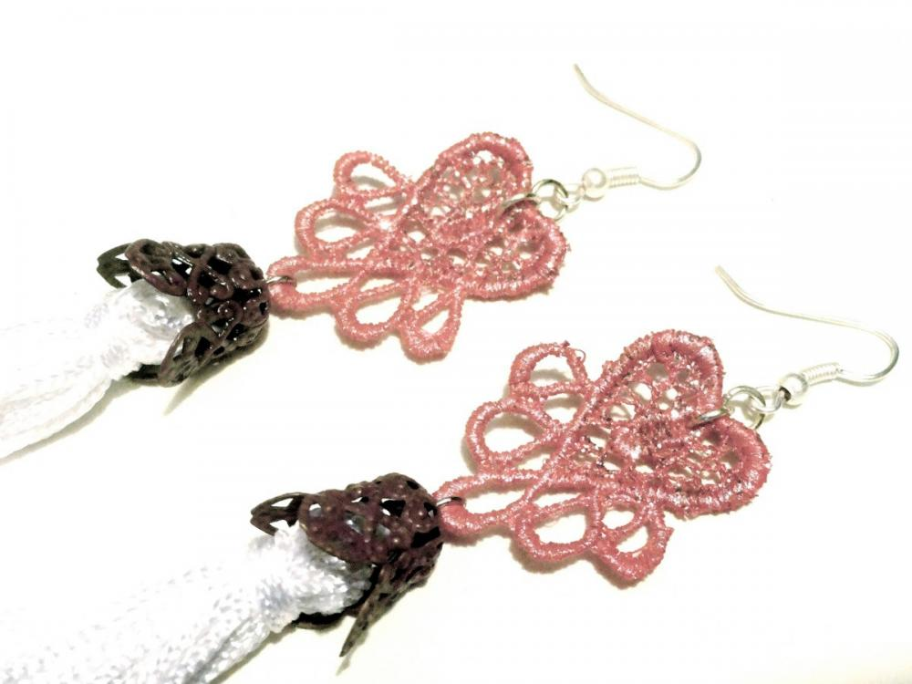 Heart Tassel Lace Earrings Hand Dyed - Pink and White - Customizable Colors - Lace Fashion