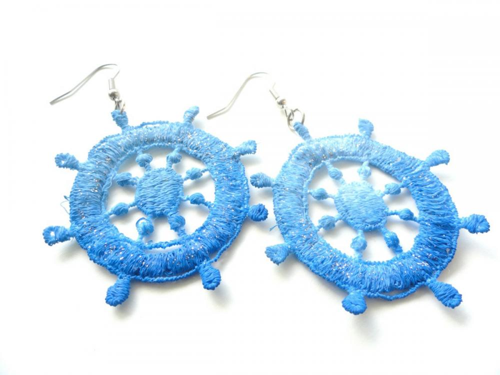 Nautical Blue Lace Earrings Hand Dyed - Summer Ocean Ship Wheel with Glitter