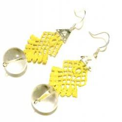 Lace Earrings Hand Painted in Neon Yellow Glow in the Dark - Customizable Colors