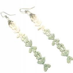 Lace Earrings - Ombre Flowers in Mint and White Metallic - Customizable Colors - Summer Ocean