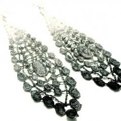 Lace Earrings Hand Dyed - Black Grey White - Customizable Colors - Lace Fashion