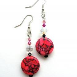 Neon Pink Stone Beaded Earrings with Swarovski Crystals