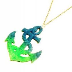 Lace Necklace Hand Dyed - Anchor in Neon Green and Neon Blue - Ocean Summer Nautical
