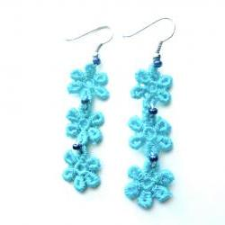 Teal Flower Lace Earrings