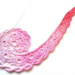 Lace Necklace Hand Dyed in Pink and Red with Silver Plated Chain - Valentine&#039;s Day - Customizable Colors )-( DANIELLE )-(