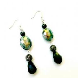 Beaded Earrings in Teal Silver and Black