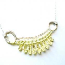 Lace Necklace Hand Dyed - Yellow and Champagne - Customizable Colors - Lace Fashion