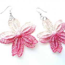 Hand Dyed Lace Earrings - Red / Pink and Champagne Flowers - Customizable Colors - Lace Fashion