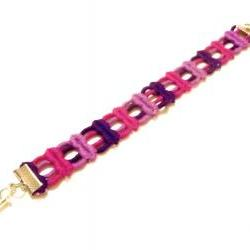 Fabric Bracelet in Pink and Purple - Spring Neon