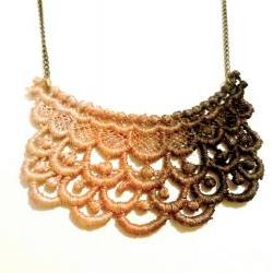 Lace Necklace Hand Dyed in Ombre Brown Copper Cream - Customizable Colors
