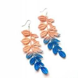 Lace Earrings Hand Dyed - Leaves in Peach and Cobalt Blue - Customizable Colors