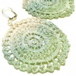 Lace Earrings - Mint Green, Blue and White Metallic Ombre - Customizable Colors - Lace Fashion