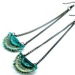 Lace Earrings - Teal and Olive with Antiqued Bronze Chain - Customizable Colors - Lace Fashion