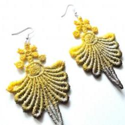 Lace Earrings - Yellow and Brown Hand Dyed with Glitter Accents