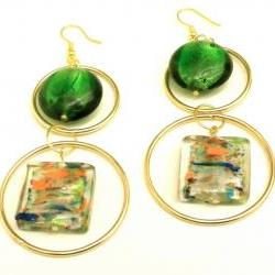 Earrings with Gold Hoops and Green and Multicolored Dichroic Glass Beads